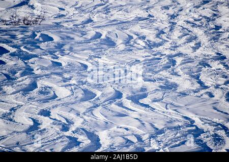 Wedelspuren im Schnee - Stock Photo