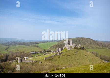 Corfe Castle taken from East Hill in Corfe, Dorset, UK - Stock Photo