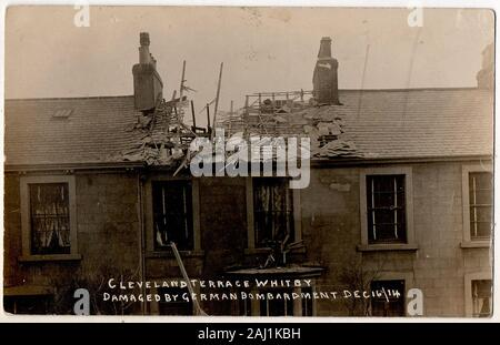 A world War One postcard showing a house in Cleveland Terrace, Whitby, North Yorkshire, UK, after the bombardment of the town on the 16th December 1914, by German battleships Derfllinger and Von der Tann . Scarborough and Hartlepool were also targeted in the same attack. - Stock Photo