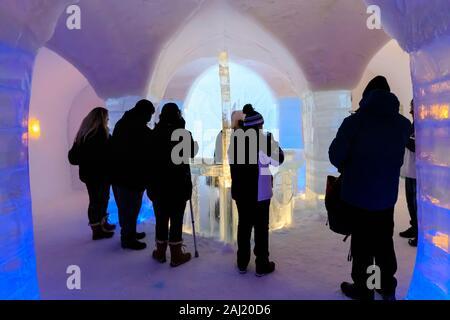 Sorrisniva Igloo Hotel, snow or ice hotel, striking sculpture, ice bar in winter, Alta, Finnmark, Arctic Circle, North Norway, Scandinavia, Europe - Stock Photo