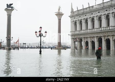 St. Mark's Square during the high tide in Venice, November 2019, Venice, UNESCO, Veneto, Italy, Europe - Stock Photo