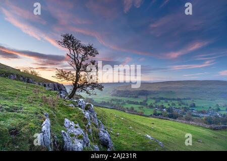 Dawn light over Arncliffe village in Littondale, North Yorkshire, Yorkshire, England, United Kingdom, Europe - Stock Photo