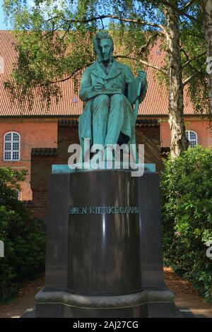 Monument of famous Danish philosopher Søren Kierkegaard in the Royal Library Garden located  in Christiansborg Palace central Copenhagen,Denmark - Stock Photo