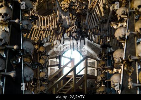 Czech Republic. Kutna Hora. Skulls and bones in the ossuary in Kutna Hora December 22, 2019 - Stock Photo