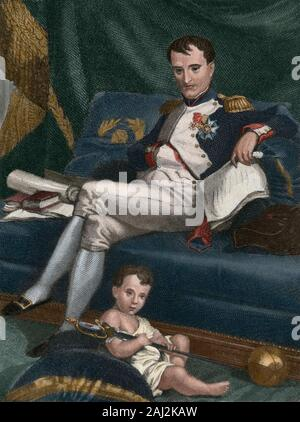 Napoleon I (Napoleon Bonaparte) (Ajaccio, Corsica,1769-St. Helena Island, 1821). French military leader and emperor of The French (1804-1815). Napoleon I and his son Napoleon II (1811-1832), called King of Rome. He never reigned. Engraving, Later colouration. - Stock Photo