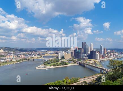 Aerial view of downtown skyline from the top of Duquesne Incline funicular with Fort Duquesne Bridge in foreground, Pittsburgh, Pennsylvania, USA - Stock Photo