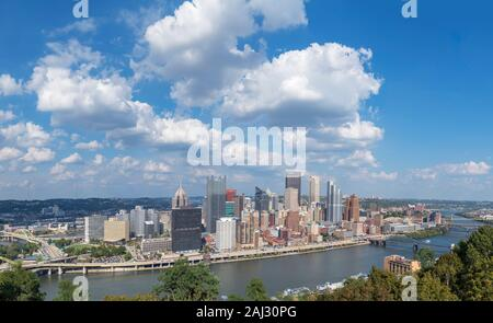 Aerial view of the downtown skyline from the Grandview Overlook, Pittsburgh, Pennsylvania, USA - Stock Photo