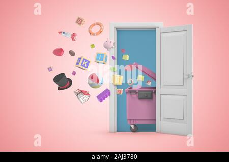 3d rendering of a white open doorway with random objects flying out of pink trash bin on light pink background. Digital art. Games and toys. Trash and - Stock Photo