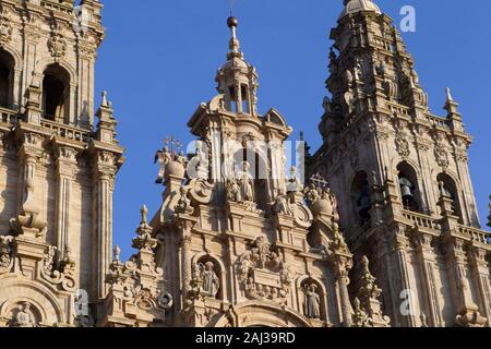 view of the main baroque facade of the cathedral of Santiago de Compostela in the obradoiro square on December 6, 2019