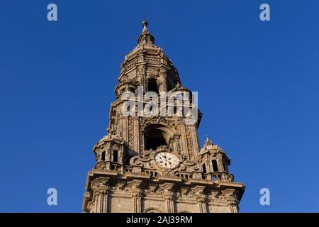 Clock tower of the cathedral of Santiago de Compostela