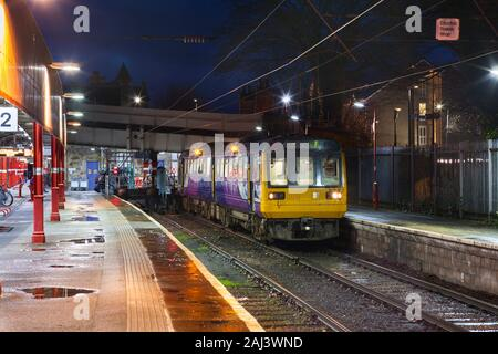 Arriva Northern rail class 142 pacer train 142056 at Lancaster railway station with a Lancaster to Morecambe train - Stock Photo