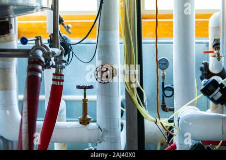 lot of different pipes and valves, brewery piping systems and temperature and pressure measuring devices and electrical wiring