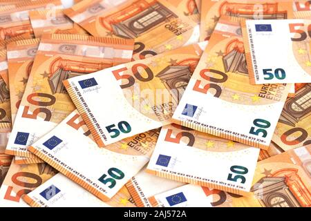Money background euro cash banknotes 50 euro notes. Business finance cash concept. Flat lay, copy space, from above, top view, horizontal.