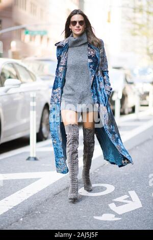 New York, NY - November 1: Alessandra Ambrosio seen  walking in the streets of Manhattan on April 14, 2018 in Indio, California. - Stock Photo