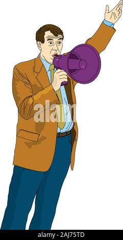 Mature man in suit and tie talking through a megaphone purple with left arm raised on white background. Vector image - Stock Photo