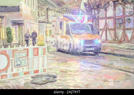watercolor illustration: Red Cross ambulance drives through the old town in the early evening with blue light switched on - Stock Photo