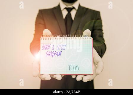 Handwriting text writing Cause and Effect Diagram. Conceptual photo Visualization tool to categorize potential causes - Stock Photo