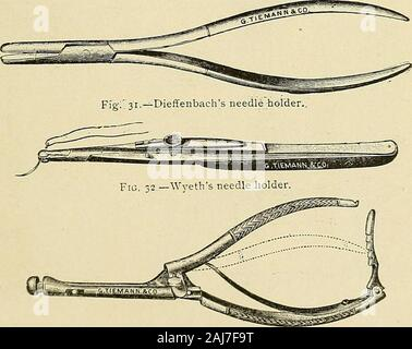 The surgical assistant, a manual for students, practitioners, hospital internes and nurses . Fig. 33.—Hagedorn s needle holder. 342 The Surgical Assistant. - Stock Photo
