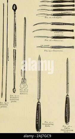 The surgical assistant, a manual for students, practitioners, hospital internes and nurses . Fig. 9.—Trocar and canula. Fig. jo.—Volkmanns spoon. Surgical Instruments. 339. 340 The Surgical Assistant. - Stock Photo