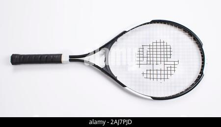 Single tennis racket isolated white background. Top view - Stock Photo