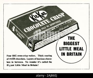 An advert for a Kit Kat biscuit – it appeared in a magazine published in the UK in 1947. Kit Kat is a chocolate-covered wafer bar from Rowntree's of York, England, UK. The original version of the bar was developed after a worker at York's Rowntree's suggested a snack that a 'man could have in his lunch box for work'. It was launched in 1935 as Rowntree's Chocolate Crisp. It was renamed Kit Kat Chocolate Crisp in 1937. Its catchphrase after World War II (as shown here) was 'The biggest little meal in Britain'. Since 1957 the iconic slogan for item has been 'Have a break... have a Kit Kat'. - Stock Photo