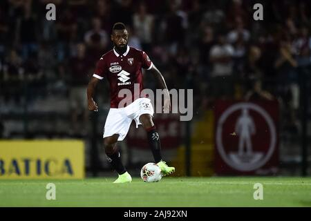 Alessandria, Italy. 25 July, 2019: Nicolas Nkoulou of Torino FC in action during the UEFA Europa League second qualifying round football match between Torino FC and Debrecen VSC. Torino FC won 3-0 over Debrecen VSC. Credit: Nicolò Campo/Alamy Live New - Stock Photo