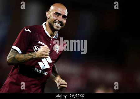 Alessandria, Italy. 25 July, 2019: Simone Zaza of Torino FC reacts during the UEFA Europa League second qualifying round football match between Torino FC and Debrecen VSC. Torino FC won 3-0 over Debrecen VSC. Credit: Nicolò Campo/Alamy Live New - Stock Photo