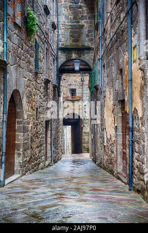 Backstreet in a picturesque old town - Stock Photo