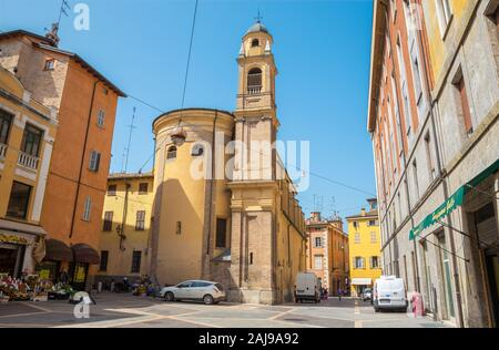 PARMA, ITALY - APRIL 16, 2018: The square and chruch San Bartolomeo. - Stock Photo