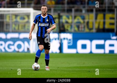Milan, Italy. 26 August, 2019: Milan Skriniar of FC Internazionale in action during the Serie A football match between FC Internazionale and US Lecce. FC Internazionale won 4-0 over US Lecce. Credit: Nicolò Campo/Alamy Live News - Stock Photo