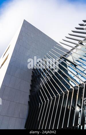 Angled parallel lines on the facade of a modern architecture building