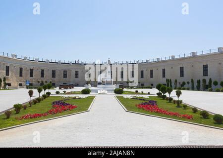 Sevastopol, Crimea, Russia - July 25, 2019: Courtyard Konstantinovsky battery with a monument on the common grave of defenders of the fortress of 1941 - Stock Photo