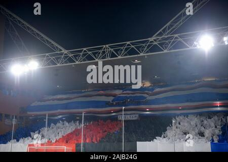 Genoa, Italy - 14 December, 2019: Fans of UC Sampdoria show their support prior to the Serie A football match between Genoa CFC and UC Sampdoria. UC Sampdoria won 1-0 over Genoa CFC. Credit: Nicolò Campo/Alamy Live News - Stock Photo