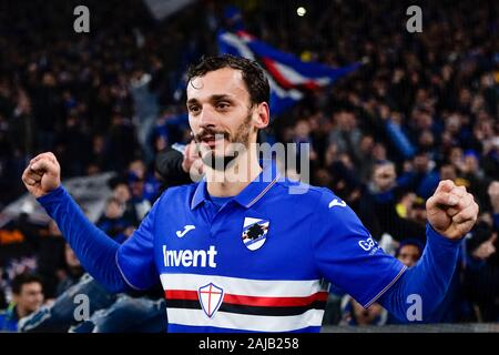 Genoa, Italy - 14 December, 2019: Manolo Gabbiadini of UC Sampdoria celebrates the victory at the end of the Serie A football match between Genoa CFC and UC Sampdoria. UC Sampdoria won 1-0 over Genoa CFC. Credit: Nicolò Campo/Alamy Live News - Stock Photo