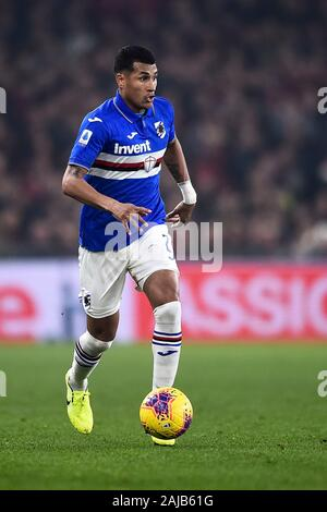 Genoa, Italy - 14 December, 2019: Jeison Murillo of UC Sampdoria in action during the Serie A football match between Genoa CFC and UC Sampdoria. UC Sampdoria won 1-0 over Genoa CFC. Credit: Nicolò Campo/Alamy Live News - Stock Photo
