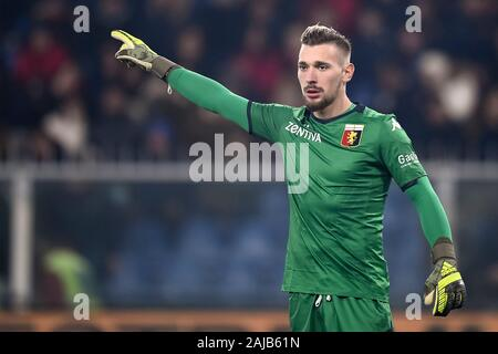 Genoa, Italy - 14 December, 2019: Ionut Radu of Genoa CFC gestures during the Serie A football match between Genoa CFC and UC Sampdoria. UC Sampdoria won 1-0 over Genoa CFC. Credit: Nicolò Campo/Alamy Live News - Stock Photo
