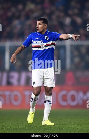 Genoa, Italy - 14 December, 2019: Jeison Murillo of UC Sampdoria gestures during the Serie A football match between Genoa CFC and UC Sampdoria. UC Sampdoria won 1-0 over Genoa CFC. Credit: Nicolò Campo/Alamy Live News - Stock Photo