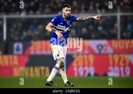 Genoa, Italy - 14 December, 2019: Nicola Murru of UC Sampdoria gestures during the Serie A football match between Genoa CFC and UC Sampdoria. UC Sampdoria won 1-0 over Genoa CFC. Credit: Nicolò Campo/Alamy Live News - Stock Photo