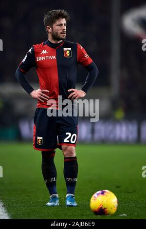 Genoa, Italy - 14 December, 2019: Lasse Schone of Genoa CFC in action during the Serie A football match between Genoa CFC and UC Sampdoria. UC Sampdoria won 1-0 over Genoa CFC. Credit: Nicolò Campo/Alamy Live News - Stock Photo