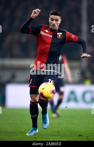 Genoa, Italy - 14 December, 2019: Paolo Ghiglione of Genoa CFC in action during the Serie A football match between Genoa CFC and UC Sampdoria. UC Sampdoria won 1-0 over Genoa CFC. Credit: Nicolò Campo/Alamy Live News - Stock Photo