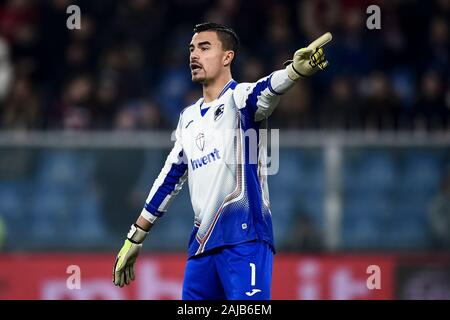 Genoa, Italy - 14 December, 2019: Emil Audero of UC Sampdoria gestures during the Serie A football match between Genoa CFC and UC Sampdoria. UC Sampdoria won 1-0 over Genoa CFC. Credit: Nicolò Campo/Alamy Live News - Stock Photo