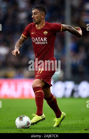 Genoa, Italy - 20 October, 2019: Aleksandar Kolarov of AS Roma in action during the Serie A football match between UC Sampdoria and AS Roma. The match ended in a 0-0 tie. Credit: Nicolò Campo/Alamy Live News - Stock Photo