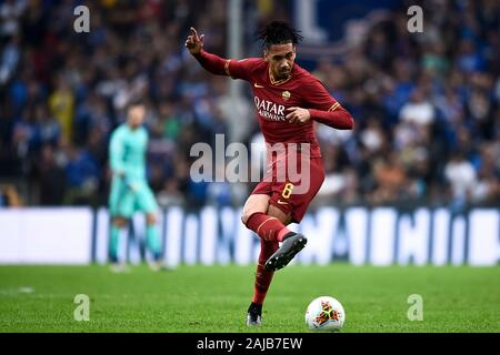 Genoa, Italy - 20 October, 2019: Chris Smalling of AS Roma in action during the Serie A football match between UC Sampdoria and AS Roma. The match ended in a 0-0 tie. Credit: Nicolò Campo/Alamy Live News - Stock Photo