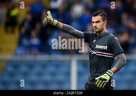 Genoa, Italy - 20 October, 2019: Emil Audero of UC Sampdoria gestures during the Serie A football match between UC Sampdoria and AS Roma. The match ended in a 0-0 tie. Credit: Nicolò Campo/Alamy Live News - Stock Photo