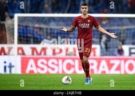 Genoa, Italy - 20 October, 2019: Gianluca Mancini of AS Roma in action during the Serie A football match between UC Sampdoria and AS Roma. The match ended in a 0-0 tie. Credit: Nicolò Campo/Alamy Live News - Stock Photo