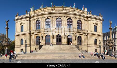 PRAGUE, CZECH REPUBLIC - OCTOBER 14, 2018: The facade of Rudolfinum Concert Hall. - Stock Photo