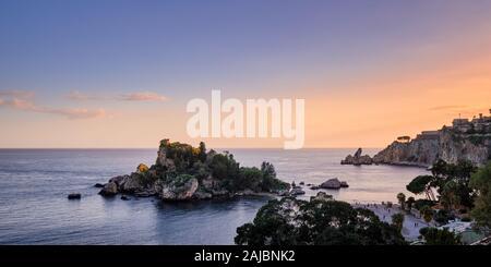 Beautiful Island at sunset, Isola Bella, Taormina, Sicily, Italy - Stock Photo