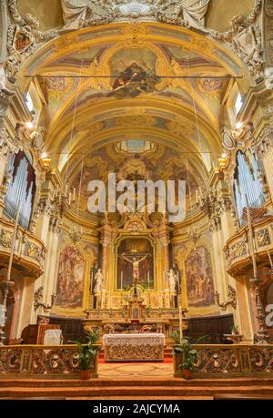 PARMA, ITALY - APRIL 16, 2018: The presbytery of baroque church Chiesa di San Vitale. - Stock Photo