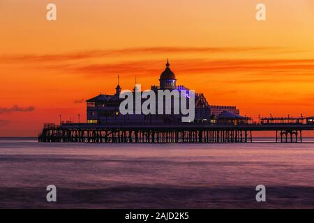 Eastbourne Pier just after Sunset in Winter - Stock Photo