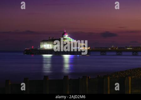 Eastbourne Pier during Blue Hour in East Sussex, England, UK - Stock Photo
